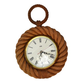 Vintage Audoux Minet Style Nautical Wall Rope Clock Shaped Pocket Watch France For Sale