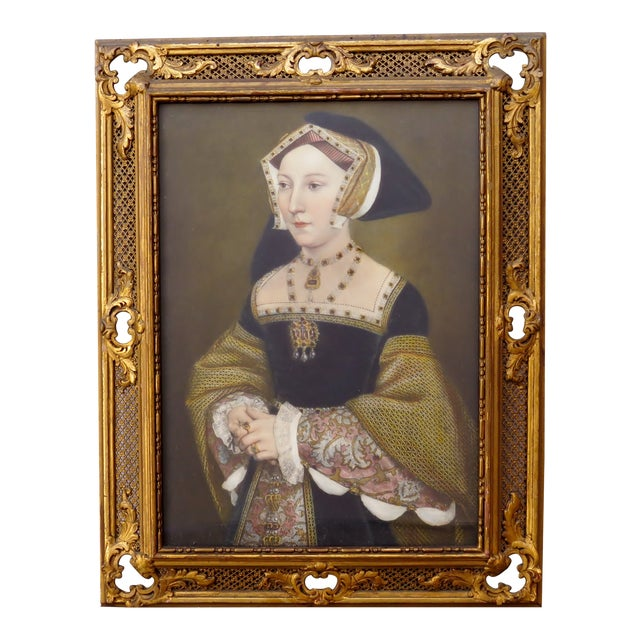 Renaissance Decorative Period Framed Portrait Print of Jane Seymour, Wife of Henry VIII For Sale