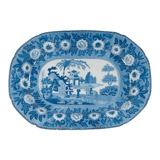 1880s Blue and White English Ironstone Platter With Floral, Scenic and Figural Decoration For Sale