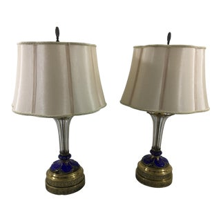 Russian Imperial Cobalt and Gold Crystal Lamps - a Pair For Sale