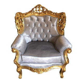 1970s Vintage Gilded Velvet Tufted Oversized Chair** For Sale
