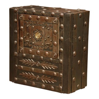 Mid-19th Century French Forged Wrought Iron Hobnail Studded Safe For Sale