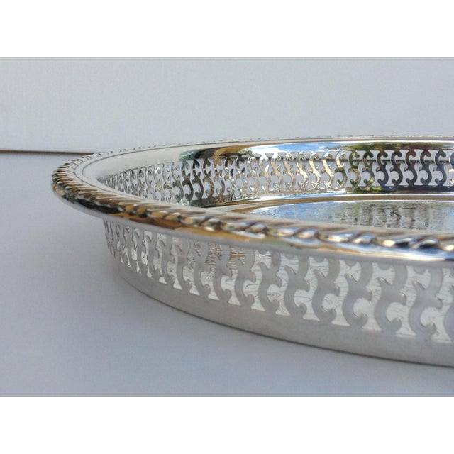 Engraving Silverplate Pierced Large Celtic Server Tray or Platter For Sale - Image 7 of 10