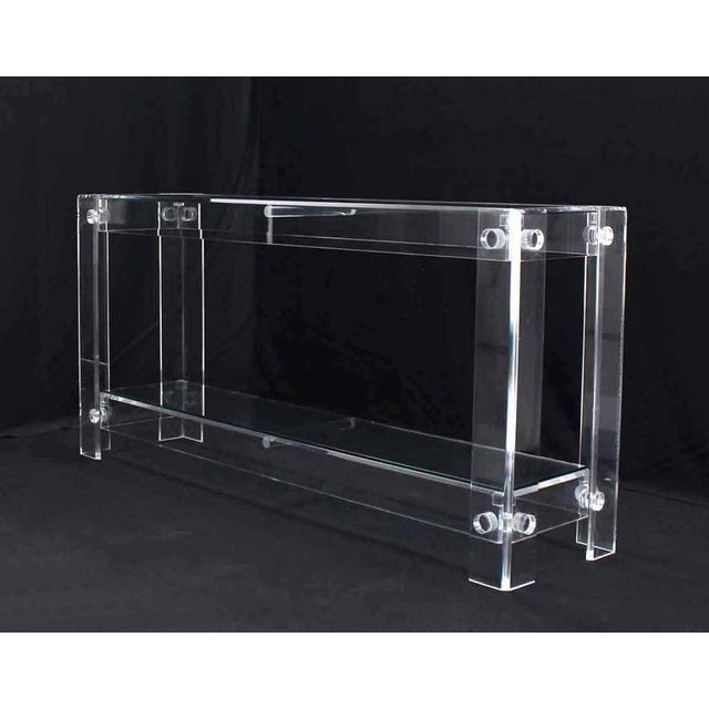 Three-Tier Long Lucite Console Table For Sale - Image 9 of 10