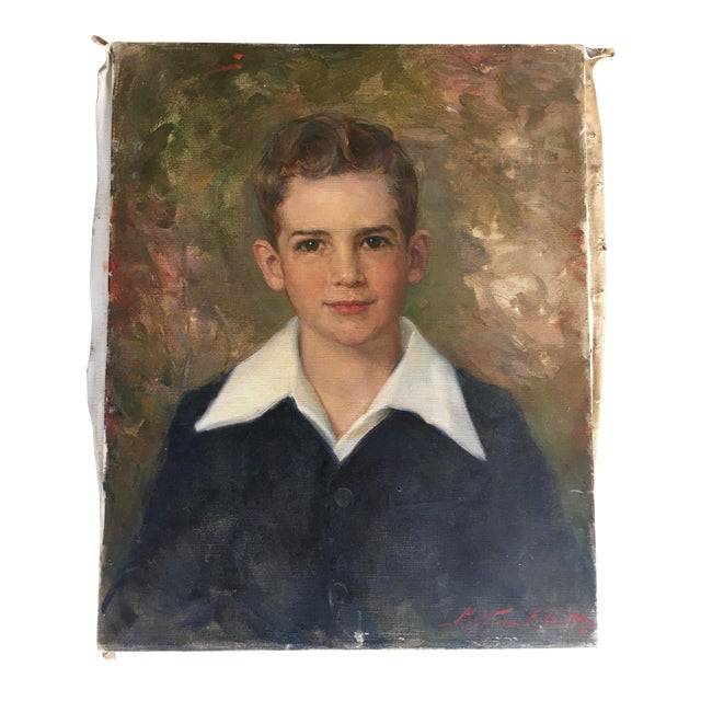 Oil Portrait Painting Young Man 1952 Signed For Sale