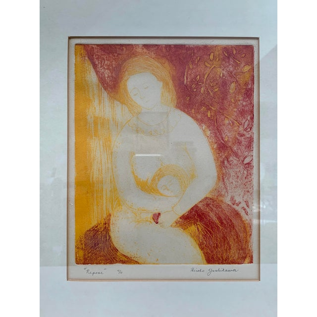 Asian Mid-Century Modern Mother and Child Print by Hiroko Yoshikawa For Sale - Image 3 of 10