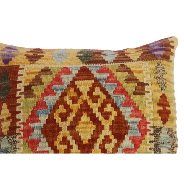 "Christin Gold/Lt. Blue Hand-Woven Kilim Throw Pillow(18""x18"") For Sale - Image 4 of 6"
