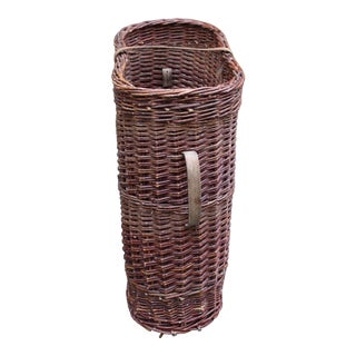 Mid 20th Century English Tall Wicker Basket For Sale