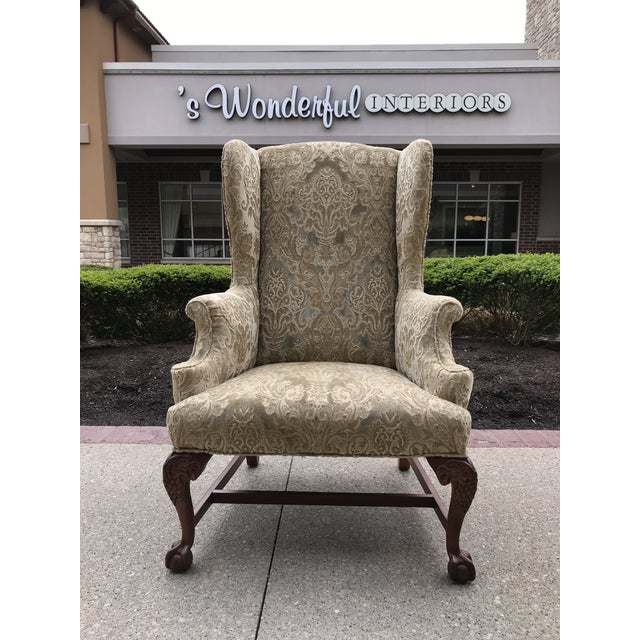 Early 20th Century Chippendale Style American Eagle Carved Leg Claw & Ball Foot Wingback Chair For Sale - Image 9 of 9