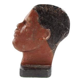 1930s Boho Chic Cast-Iron Doorstop of the Heavyweight Boxer Joe Louis For Sale
