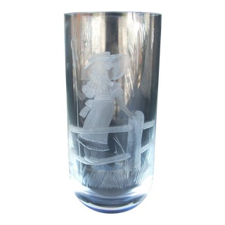 Cylindrical Etched Crystal Vase