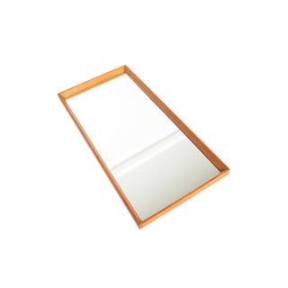 Danish Modern Beveled Edge Oak Wall Mirror For Sale