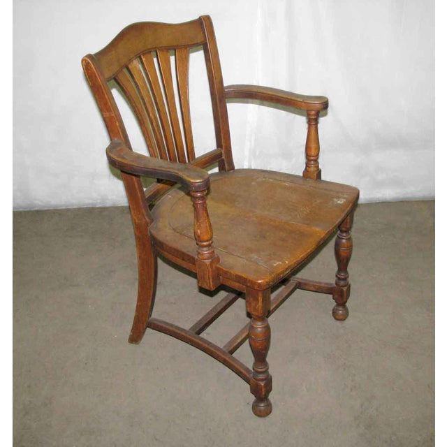 Scalloped Back Banker's Chair For Sale - Image 4 of 9