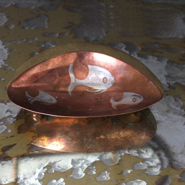Metal 1950s Los Castillo Brass Copper and Sterling Silver Catchall, Midcentury For Sale - Image 7 of 8