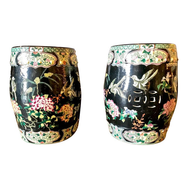 20th Century Chinese Famille Noire Garden Seats - a Pair For Sale