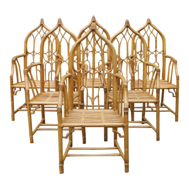 1970s McGuire Style Rattan Bamboo Gothic Cathedral Chairs All Arm Chairs - Set of 2 For Sale