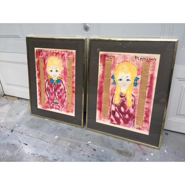 Expressionism 1960s Vintage Francois Paris Girl and Boy Portraits Mixed Media Paintings - A Pair For Sale - Image 3 of 13