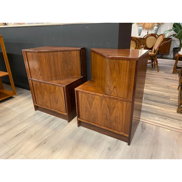 Rosewood mid century bedside tables with two doors, very rare!!!!!! This item includes restricted materials and can not be...