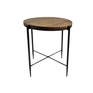 Walnut & Iron End Table For Sale