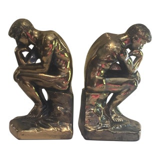 """Vintage """"The Thinker"""" Bookends - a Pair For Sale"""