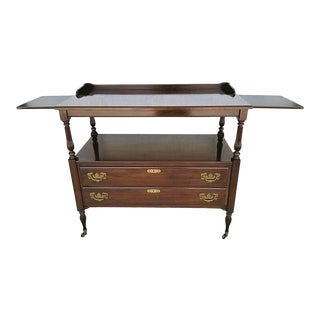 Traditional Ethan Allen Rolling Sideboard Buffet Dry Bar Tea Serving Cart For Sale