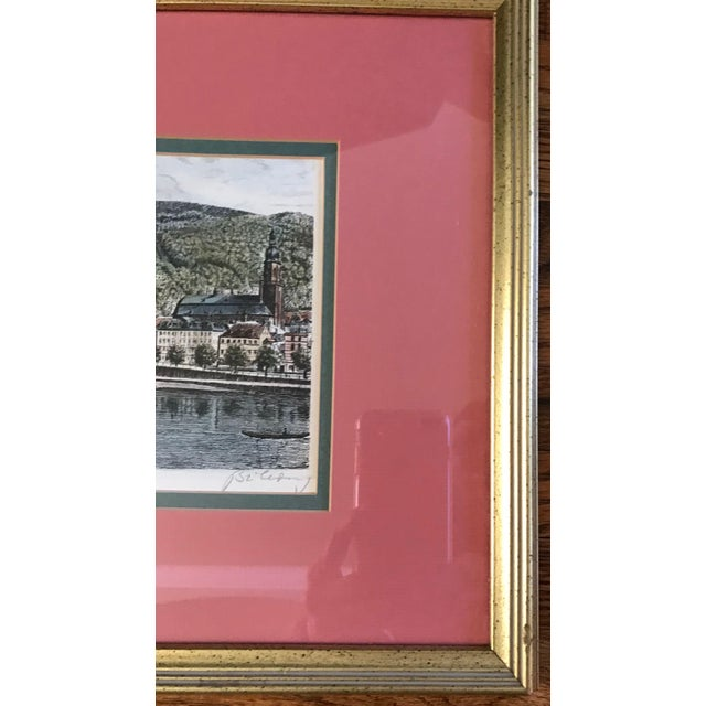 1960s Signed European Hand Tinted Print For Sale - Image 5 of 8