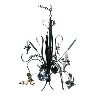 Vintage Nature Inspired Iron Chandelier For Sale