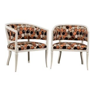 Vintage Pair Baker Style Barrel Back Armchairs in Cream Lacquer For Sale