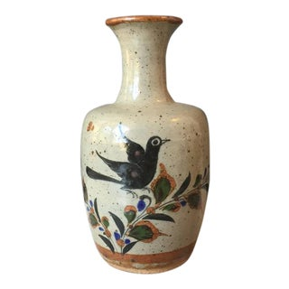 Mexican Bird Vase, Signed For Sale