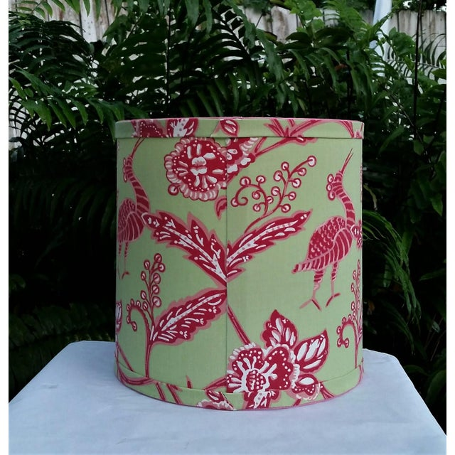 Not Yet Made - Made To Order Thibaut Fabric Lampshade Green Hot Pink Tropical For Sale - Image 5 of 10