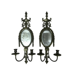 Mirrored Brass Wall Sconce Pair For Sale