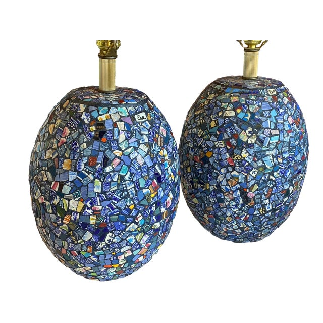 Broken china mosaic lamps. The Catalan trencadis style mosaics created from blue and white, transferware and other old...