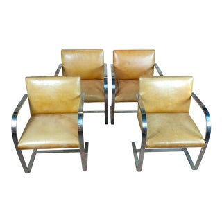 Knoll Mid-Century Modern Flat Bar Brno Armchairs, 1960s - Set of 4 For Sale