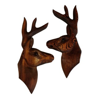 Mid 20th Century Cabin Chic Adirondack Style Rustic Wood Deer Wall Plaques With Glass Eyes - a Pair For Sale