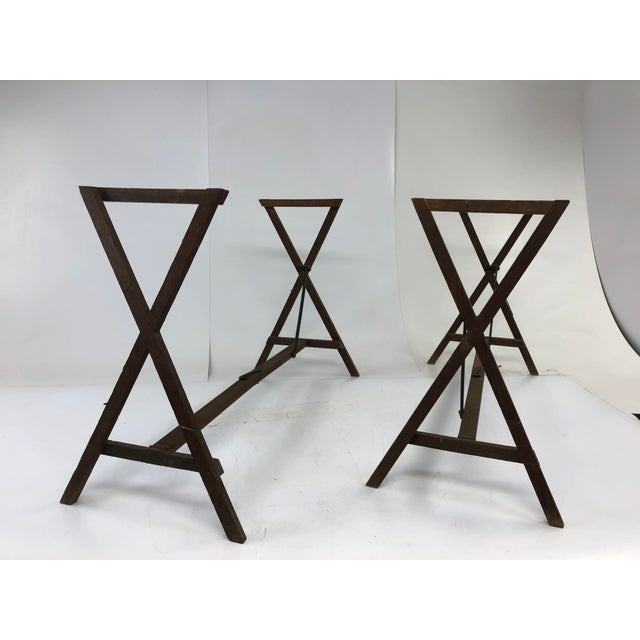 Industrial Vintage Industrial Wood Table Bases - a Pair For Sale - Image 3 of 12