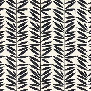 Schumacher Leaf Stripe Wallpaper in Ebony For Sale
