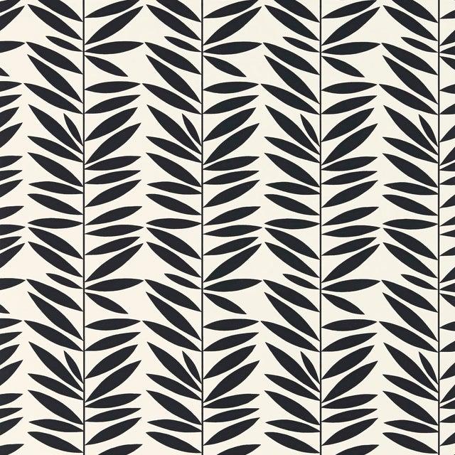 Schumacher Leaf Stripe Wallpaper in Ebony For Sale