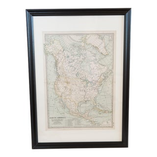 Antique Hand-Colored North American Map For Sale