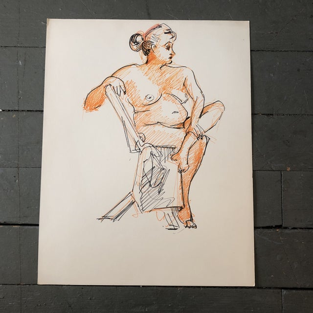 Original Female Nude Orange & Black Ink Study Drawing For Sale - Image 4 of 4