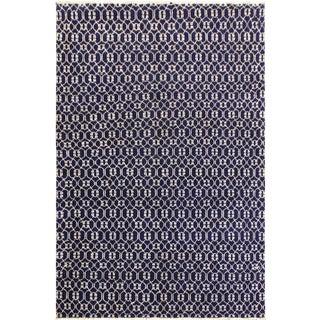 Elara Modern Lawrence Blue/Ivory Wool & Viscouse Rug - 5'3 X 7'4 For Sale