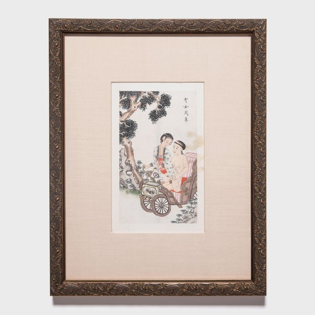 Mid 19th Century Framed Chinese Qing Erotic Album Leaf For Sale - Image 5 of 5