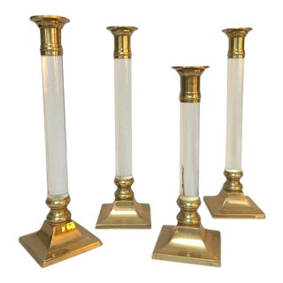 Brass & Lucite Candle Holders Candlesticks - Set of 4
