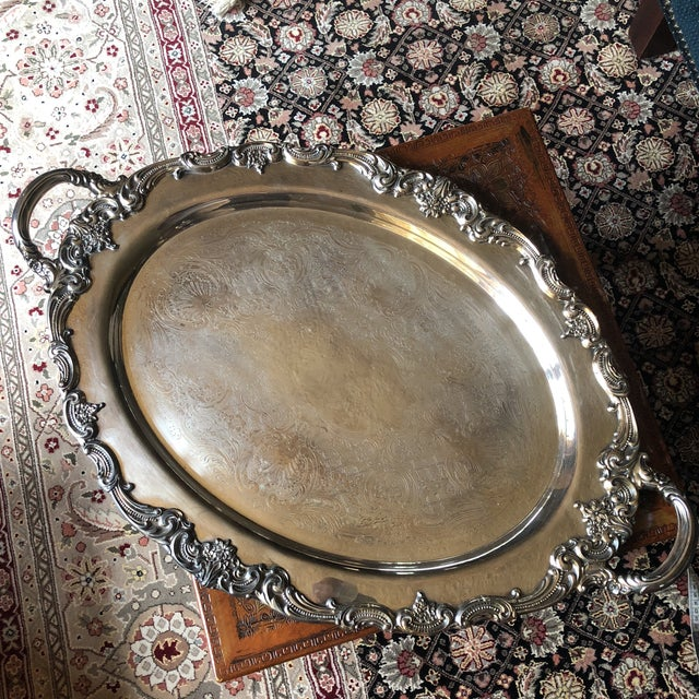 Reed & Barton El Greco Large Silverplated Handled Serving Waiter Tray For Sale - Image 12 of 13