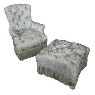 French 19th Century Tufted Armchair and Ottoman For Sale