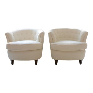 A Mid-Century Chic Set of Italian Boucle Barrel Chairs by American of Martinsville For Sale
