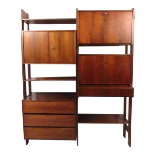 Vintage Modern Teak Wall Unit For Sale