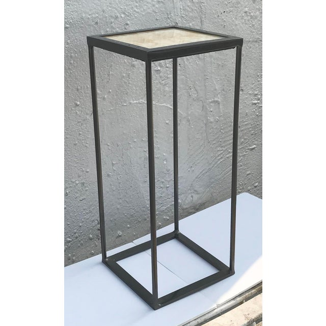 Contemporary Onxy and Black Nickel Plated Side Table For Sale - Image 3 of 6