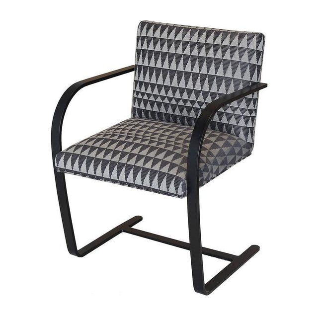 These vintage flat bar Brno Chairs by Knoll (circa 1980s) have been fully restored in custom, matte black powder coat...