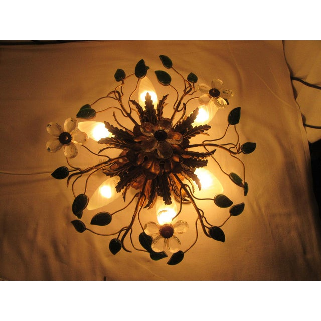 C. 1950's Mid Century Authentic French Maison Bagues Ceiling Mount Light Fixture For Sale In Miami - Image 6 of 13