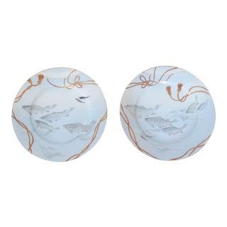 Antique Japanese Porcelain Blue Gray Fish Plates - a Pair For Sale